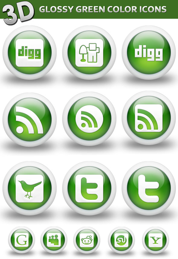 Download 3D Glossy Green Color Social Networking Icons