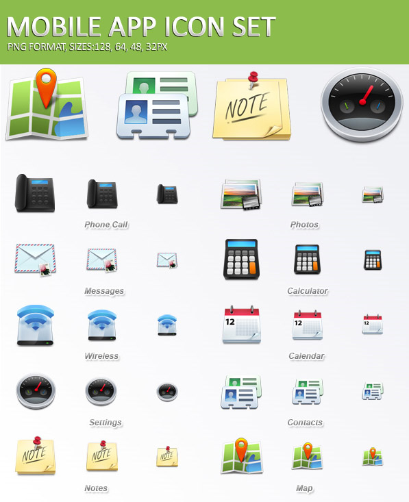 Mobile Application Icons Set Free Download