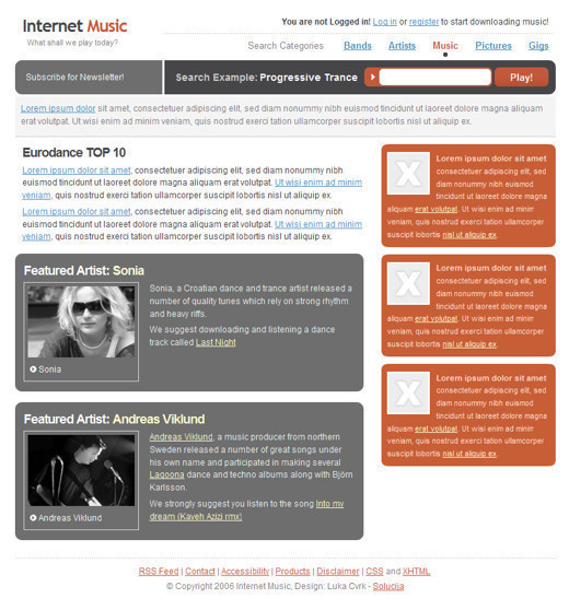 Csstemplates1 in 70+ Free XHTML/CSS Templates - Download Now