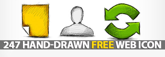 Hand-Drawn Web Icon Set with 247 icons Free Download