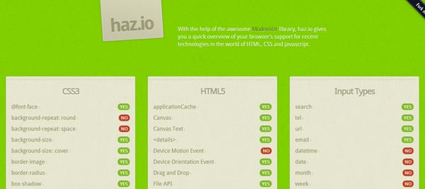 Check Your Browser HTML5 & CSS3 Capabilities With  Hazio