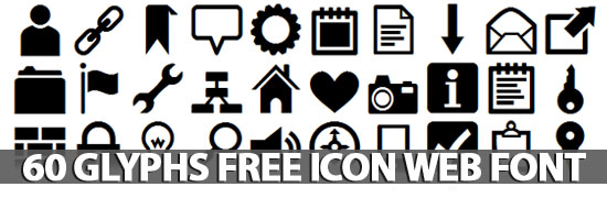 Post image of 60 Glyphs Free Icon Web Font (Pictograms)