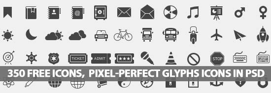 350 Free Icons, Pixel-Perfect Glyphs Icons PSD