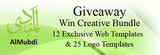 Giveaway: Win Creative Bundle 12 Exclusive Web Templates & 25 Logo Templates From AlMubdi