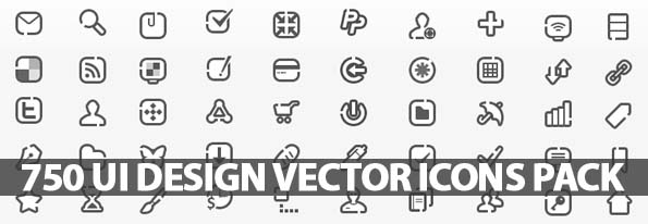 750 UI Design Vector Icons Pack