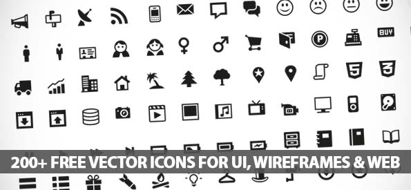 200+ Free Vector Icons For UI, Wireframes and Web Design