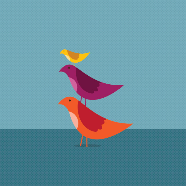 Birds Growing Together Vector Graphic