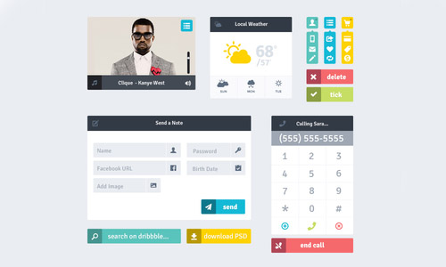 Flat Icons and Web Elements for UI Design-6