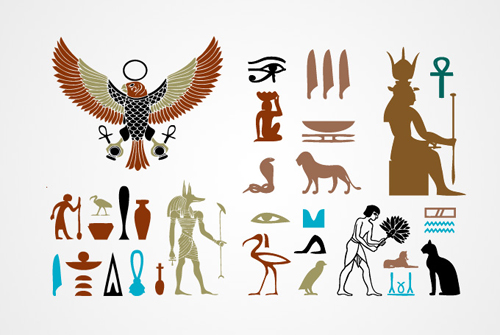 Egyptian Signs, Symbols and Element Vector Graphics