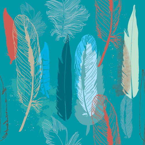 Feathers Pattern Vector Graphic