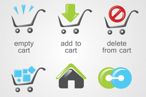 E-Commerce Shopping Cart Icons Vector Graphics