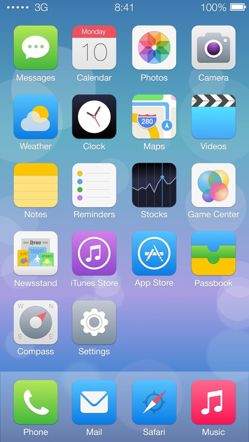 iOS 7 Full Home Screen Icon Redesign