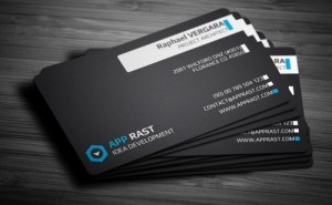 Business card front with important information