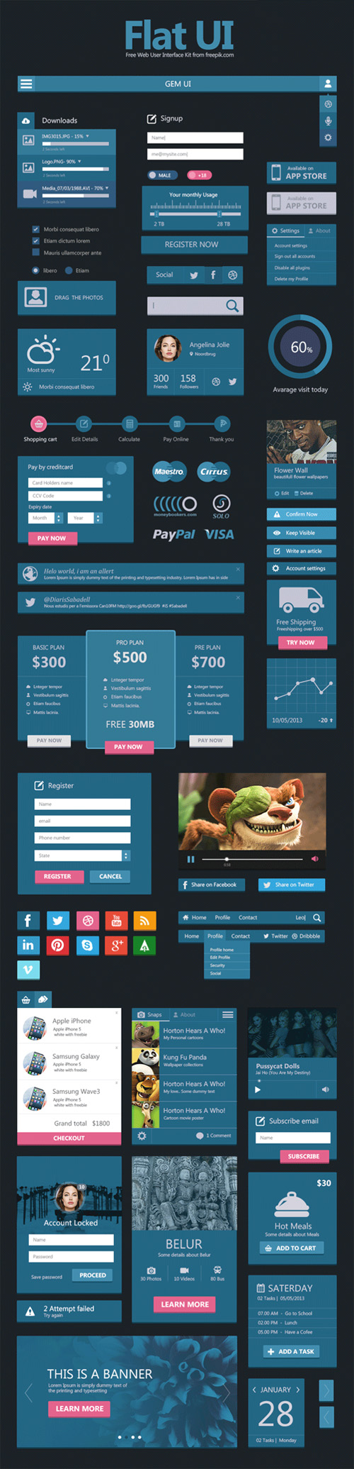 Download Flat User Interface Set Free For Commercial Use