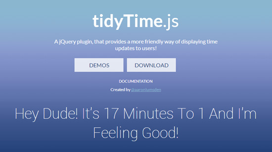 tidyTime.js: Display More Friendly Time with jQuery