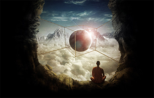 Create a Surreal Photo Manipulation of a Monk in the Caves