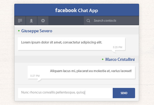 Facebook Chat App Free PSD File