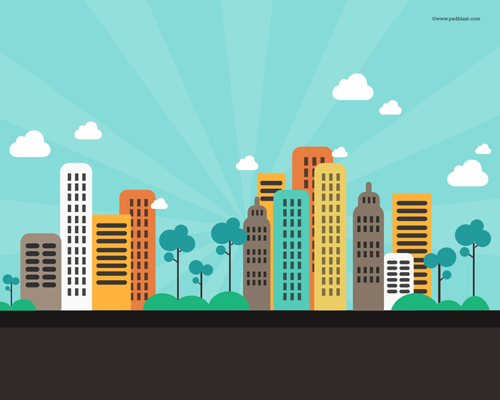Flat Color Abstract City Background Free PSD File