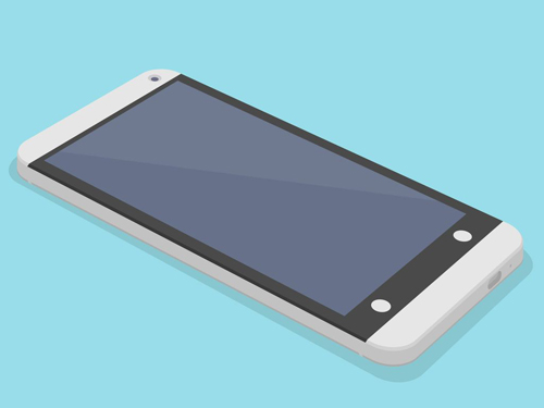 Flat HTC One 3D Mockup Free PSD File
