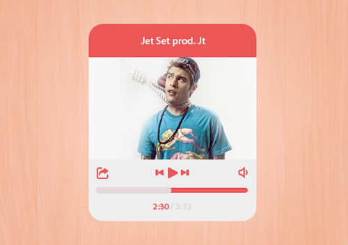 Flat Music Player Interface Free PSD File