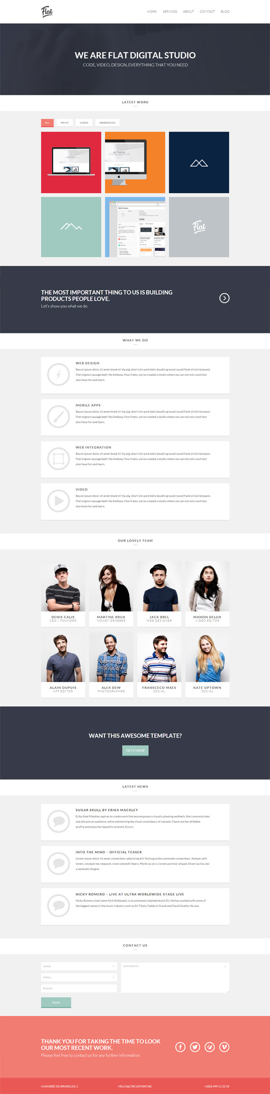 Flat Studio – Responsive One Page WordPress Theme