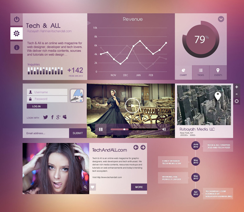 Purpel City - Free UI Kit Free PSD File