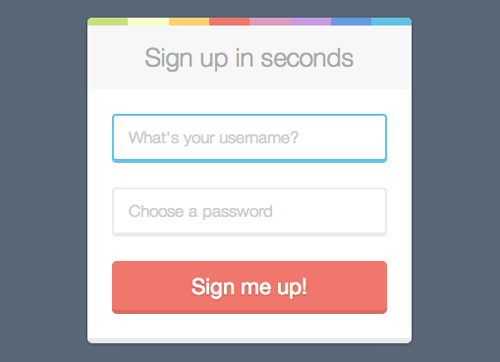 Sign Up Form Free PSD File
