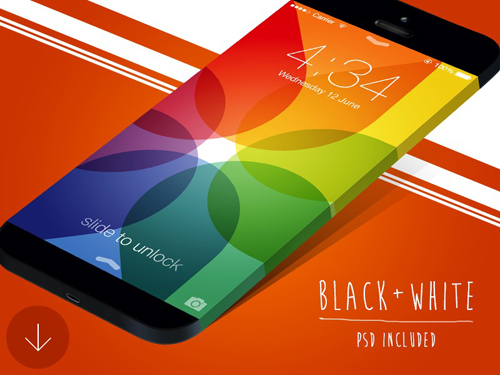 Wide iPhone Mockup Free PSD File