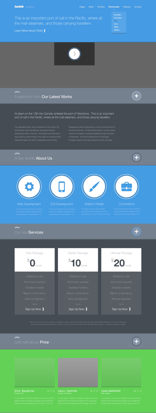 Twish - Free Single Page PSD Template