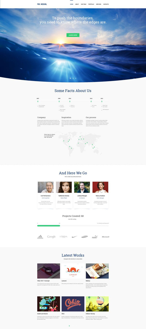 Aqual - Free Single Page PSD Template