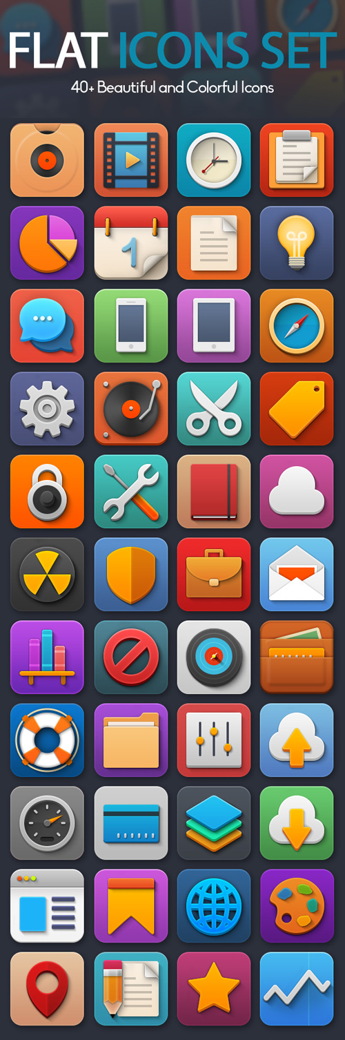 40+ Beautiful and Colorful Flat Icons Set