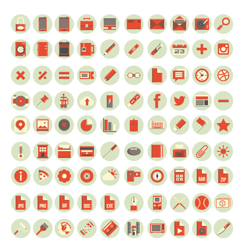 Red flat style icons