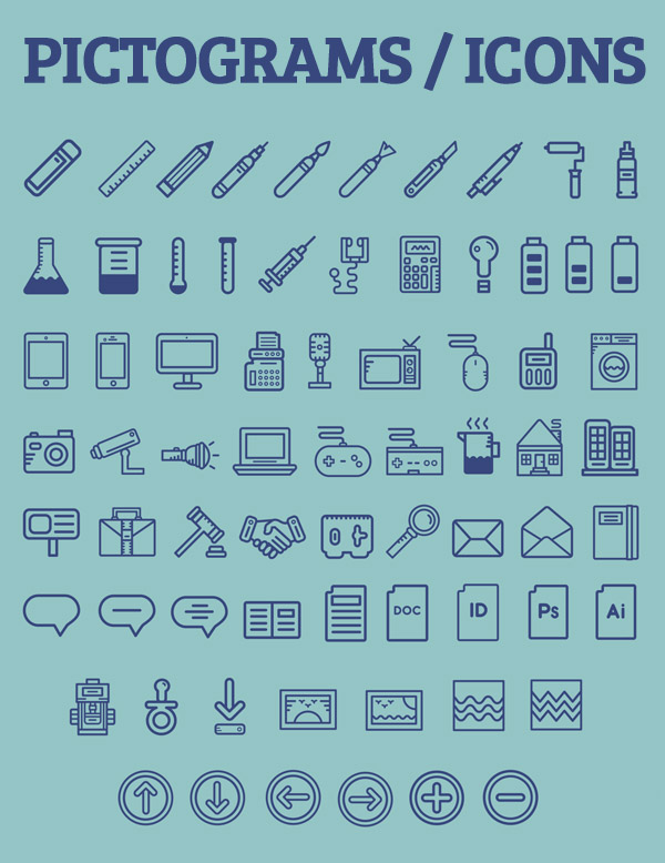 Beautiful Pictogams (Free Icons) for UI Design