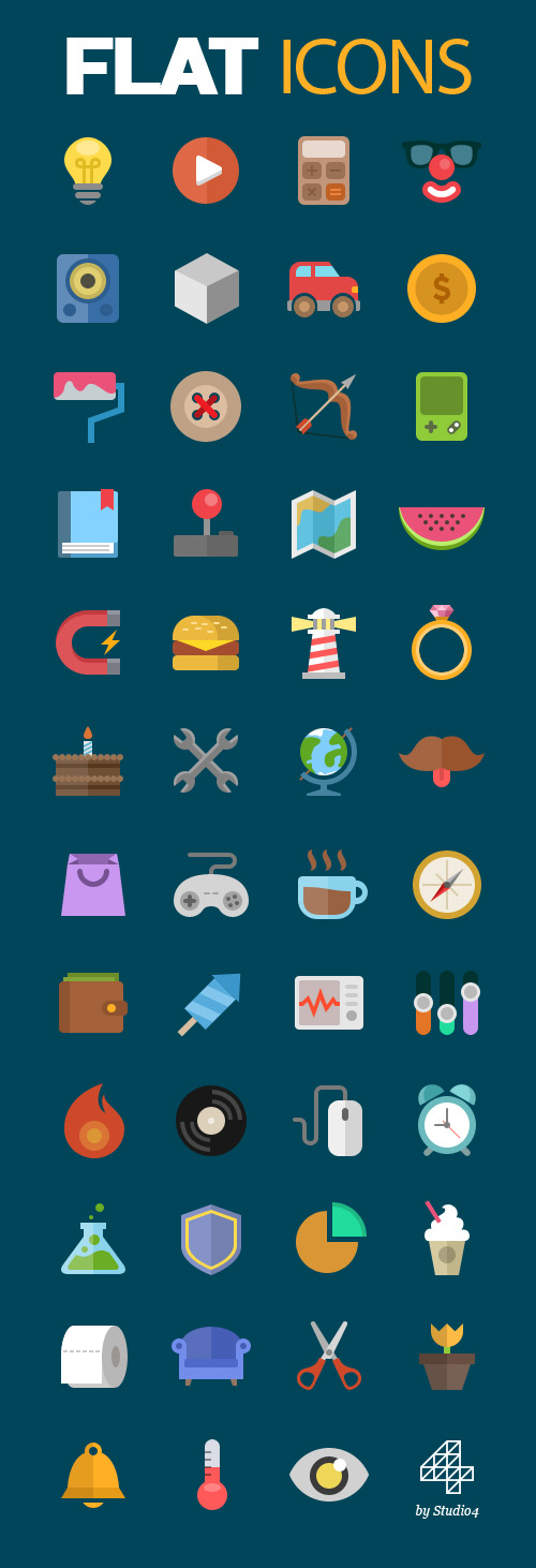 Free flat icons (Vector PSD)