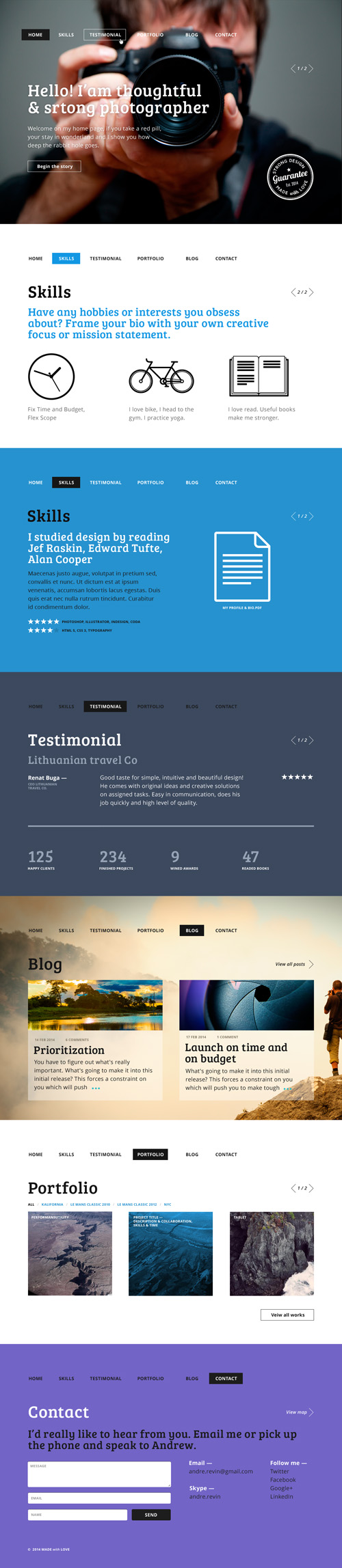 Redman - One Page PSD Template