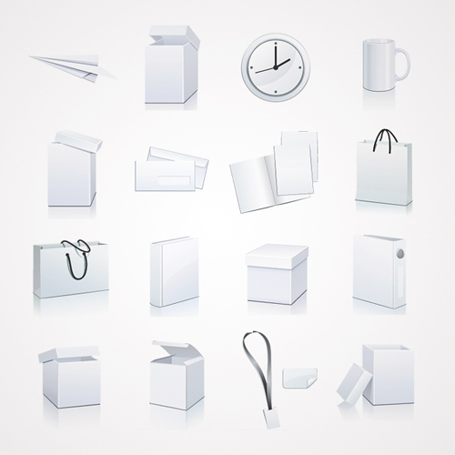 White Packaging and Stationery Vector Elements: Box and Bag Clip Art - 26