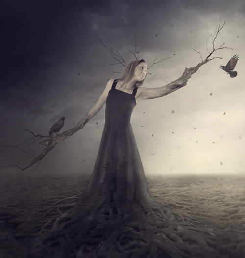 Create a Fantasy Tree Woman Scene in Photoshop