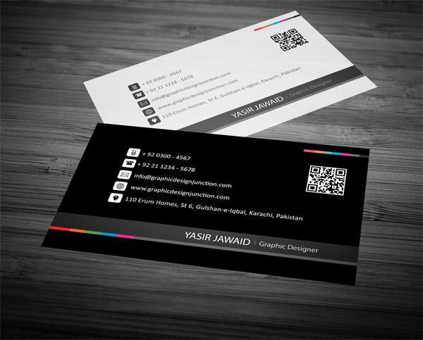 Creative business card white black front