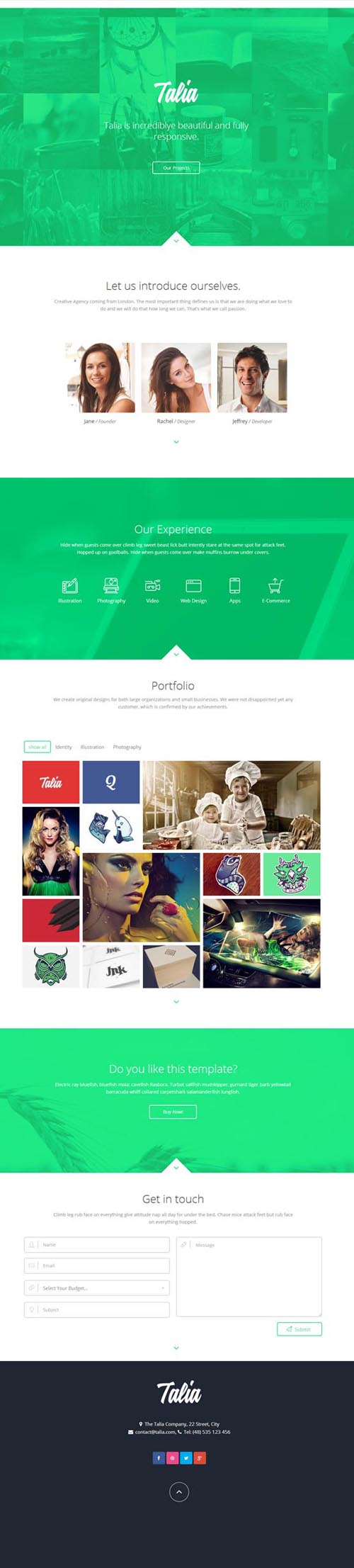 Talia - Responsive One Page WordPress Theme