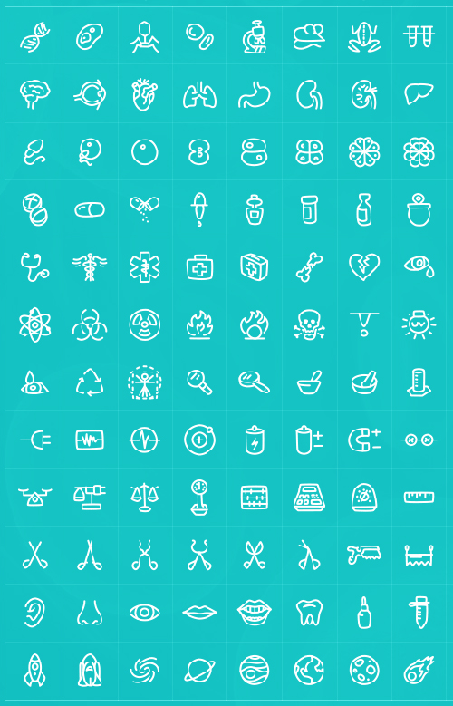 Free Vector Science Icons (180 Icons)