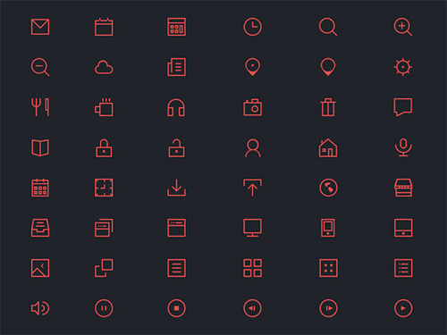 Thin Icons PSD Set (48 Icons)
