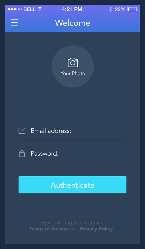 Login template for iOS apps FREE PSD