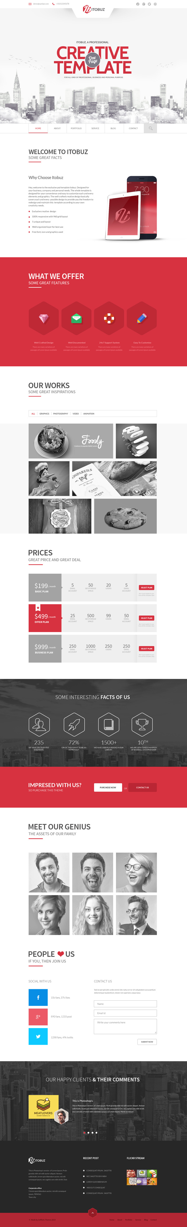 Itobuz - One Page PSD Template