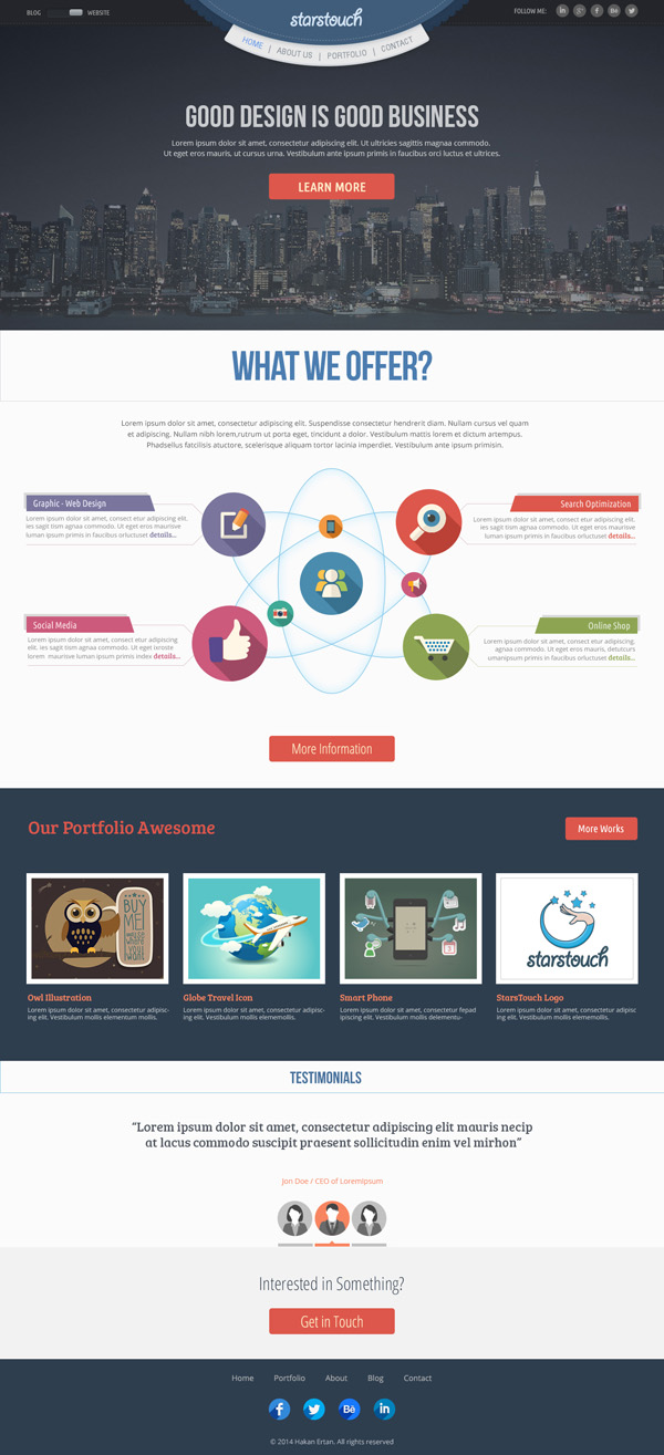 StarsTouch - Free Flat Website Template