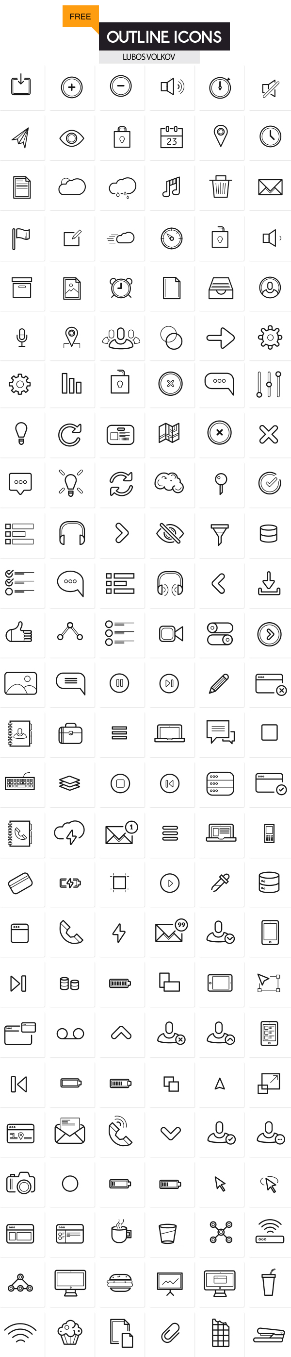 Outline Icons Set (200 free icons)