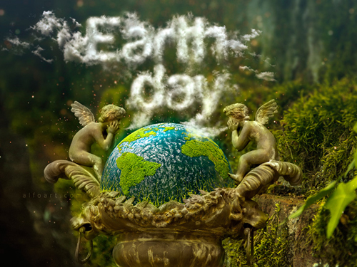 Earth Day and Realistic Clouds Text Effect Photoshop Tutorial plus Clouds Brushes