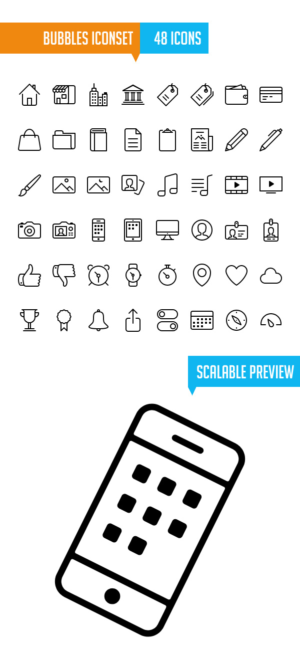 Bubbles Iconset for iOS7 (48 Icons)