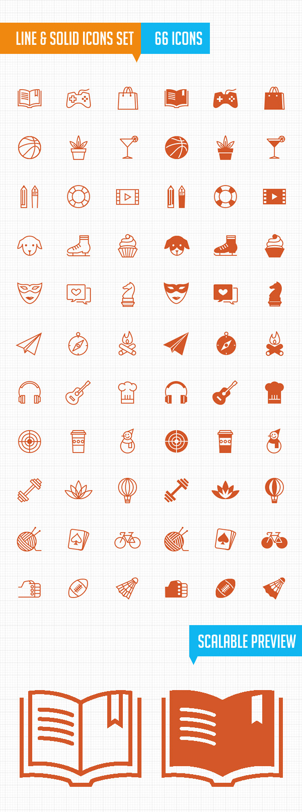 Line & Filled Leisure Activity Icons Set (66 Icons)