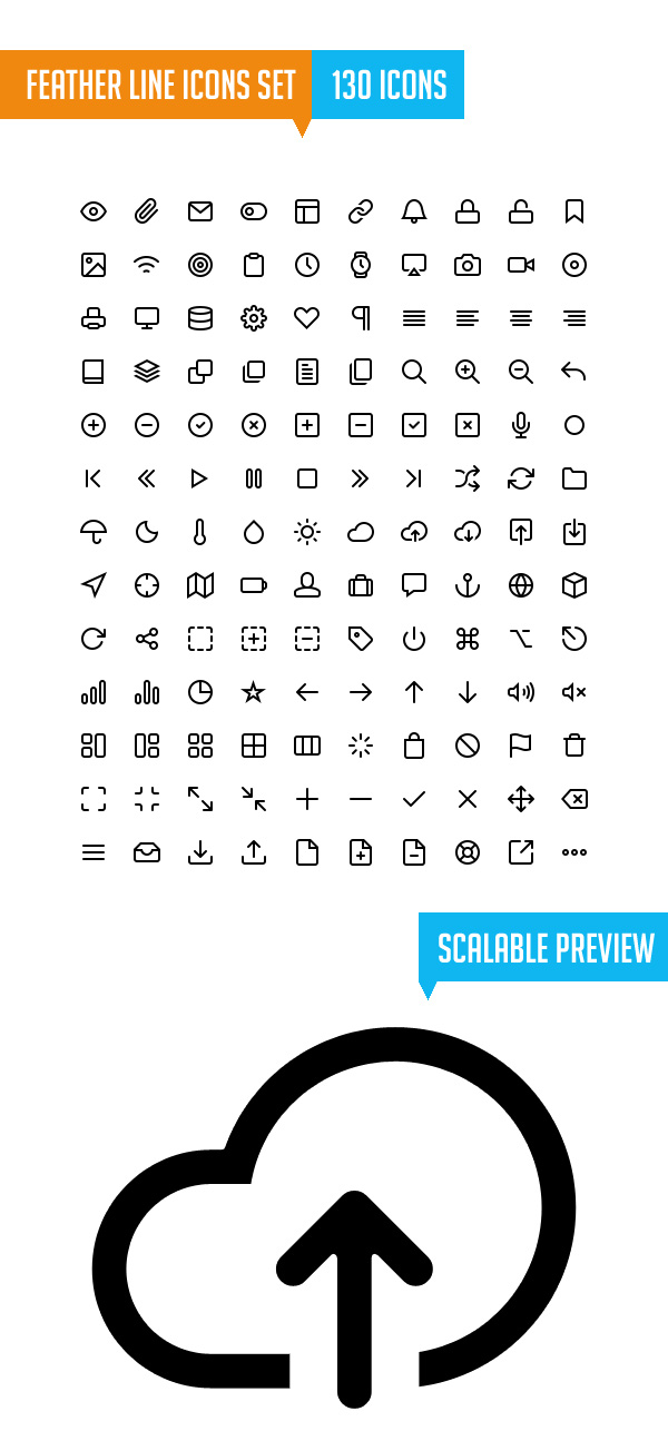 Simple Line Icons Set (130 Icons)
