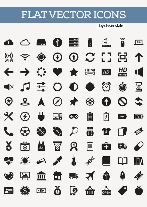 Free Flat Vector Icons Pack Preview
